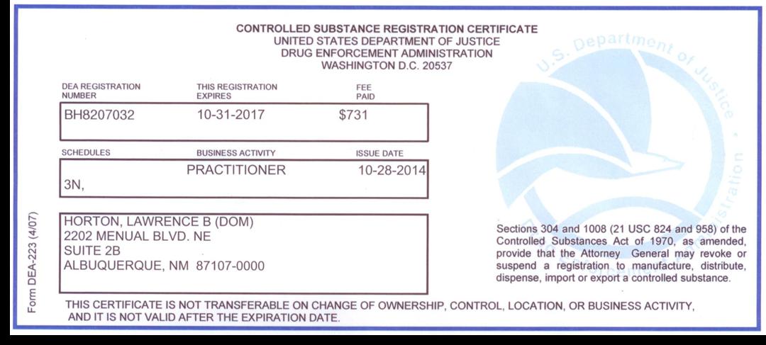 Dr. Horton\'s Licensure : : Future Medicine Now